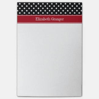 Black and White Polka Dots Cranberry Name Monogram Post-it® Notes