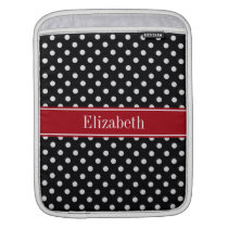 Black and White Polka Dots Cranberry Name Monogram Sleeve For iPads