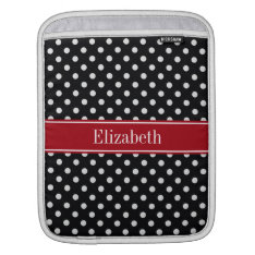 Black and White Polka Dots Cranberry Name Monogram Sleeve For iPads at Zazzle