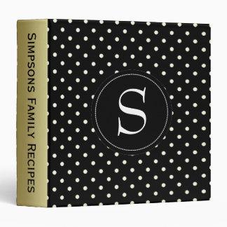 Black And White Polka Dots Custom Gold Monogram Binder