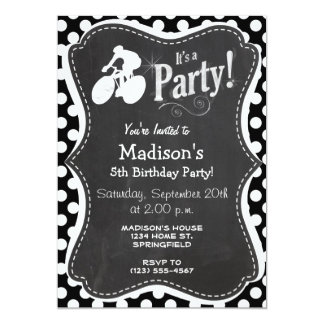 Black and White Polka Dots; Cycling Personalized Invites