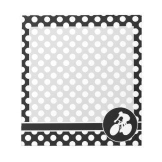 Black and White Polka Dots; Cycling Notepad