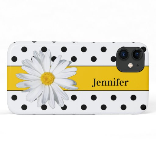 Black and White Polka Dots, Daisy iPhone 11 Case