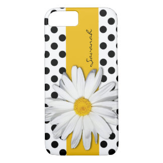 Black and White Polka Dots, Daisy iPhone 7 Case
