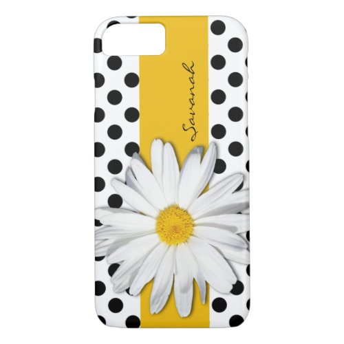 Black and White Polka Dots, Daisy iPhone 7 Case Phone Case
