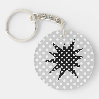 Black and White Polka Dots Double-Sided Round Acrylic Keychain