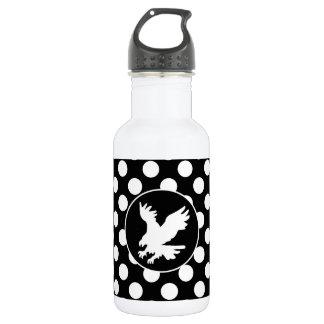Black and White Polka Dots; Eagle 18oz Water Bottle