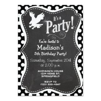 Black and White Polka Dots; Eagle 5x7 Paper Invitation Card