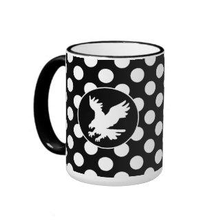 Black and White Polka Dots; Eagle Ringer Mug