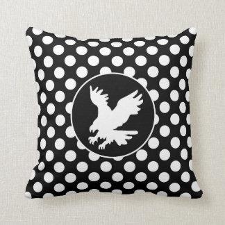 Black and White Polka Dots; Eagle Throw Pillow