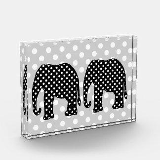 Black and White Polka Dots Elephant Acrylic Award