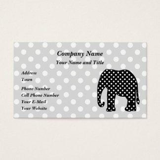 Black and White Polka Dots Elephant Business Card