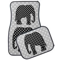Black and White Polka Dots Elephant Car Floor Mat