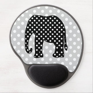 Black and White Polka Dots Elephant Gel Mouse Pad