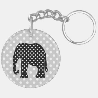 Black and White Polka Dots Elephant Keychain