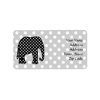 Black and White Polka Dots Elephant Label
