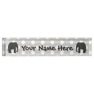 Black and White Polka Dots Elephant Name Plate