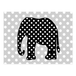 Black and White Polka Dots Elephant Postcard