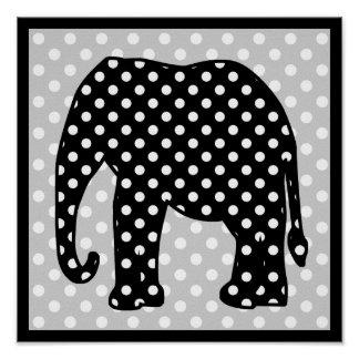 Black and White Polka Dots Elephant Poster