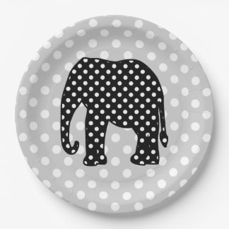Black and White Polka Dots Elephant 9 Inch Paper Plate