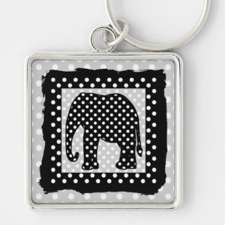 Black and White Polka Dots Elephant Silver-Colored Square Keychain