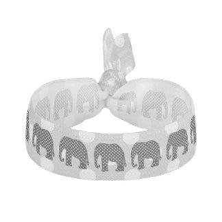 Black and White Polka Dots Elephant Ribbon Hair Tie