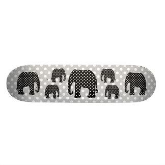 Black and White Polka Dots Elephant Skate Boards