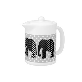 Black and White Polka Dots Elephant Teapot