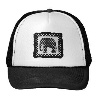 Black and White Polka Dots Elephant Trucker Hat