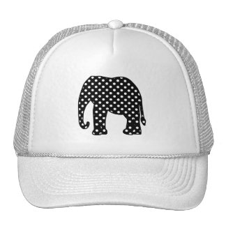 Black and White Polka Dots Elephant Trucker Hat