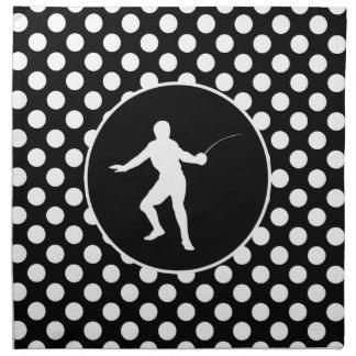 Black and White Polka Dots; Fencing Printed Napkin