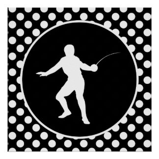 Black and White Polka Dots; Fencing Poster