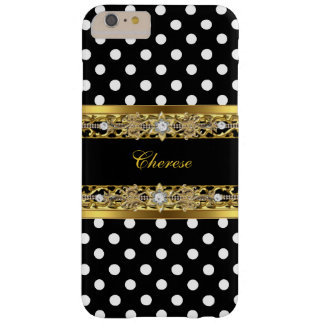 Black and White Polka Dots Floral Gold iPhone 6 Plus Case