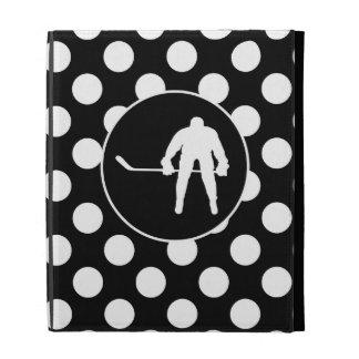 Black and White Polka Dots; Hockey iPad Case