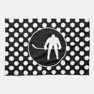Black and White Polka Dots; Hockey Hand Towels
