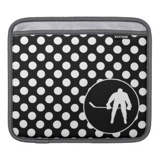 Black and White Polka Dots Hockey iPad Sleeves