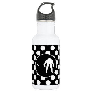 Black and White Polka Dots; Hockey Stainless Steel Water Bottle