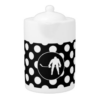 Black and White Polka Dots; Hockey Teapot