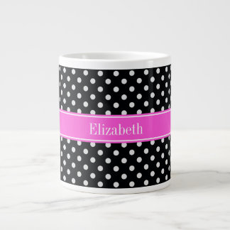 Black and White Polka Dots Hot Pink Name Monogram Large Coffee Mug