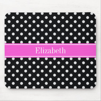 Black and White Polka Dots Hot Pink Name Monogram Mouse Pad