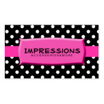 Black and White Polka Dots Hot Pink Name Plate Business Card Template