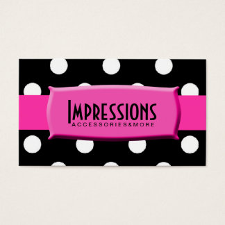 Black and White Polka Dots Hot Pink Name Plate Business Card
