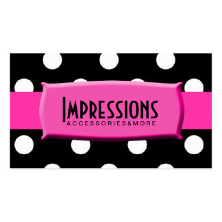 Black and White Polka Dots Hot Pink Name Plate Double-Sided Standard Business Cards (Pack Of 100)