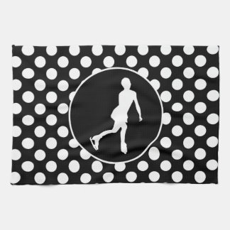 Black and White Polka Dots; Ice Figure Skating Kitchen Towel