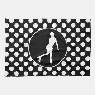 Black and White Polka Dots; Ice Figure Skating Hand Towels