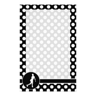 Black and White Polka Dots; Ice Figure Skating Stationery Design