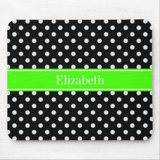 Black and White Polka Dots Lime Name Monogram Mouse Pad