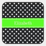 Black and White Polka Dots Lime Name Monogram Square Sticker