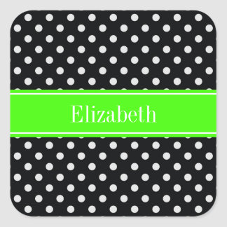 Black and White Polka Dots Lime Name Monogram Square Stickers