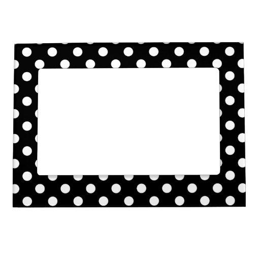 Black and White Polka Dots Frame Magnets